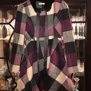 Ryu plaid wool jacket w/fur scarf size medium